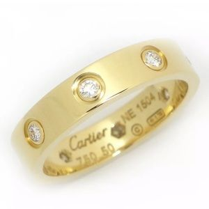 Cartier Mini 8P Diamond 18KT Gold Love Ring Screw